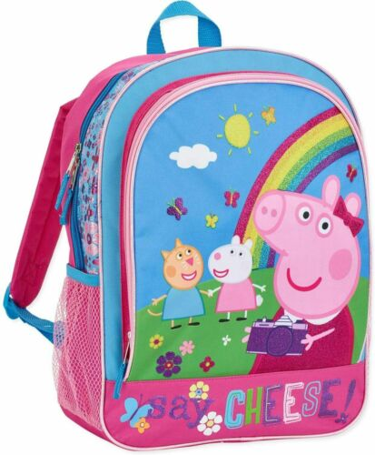 "Peppa Pig Backpack 16"" Rainbow Large Bag Say Cheese New"