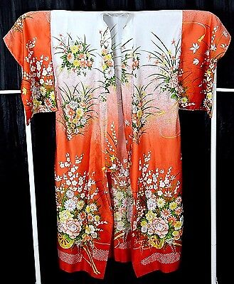 """BRIGHT ORANGE RED WHITE COLORFUL FLORAL 100% POLYESTER FULL LENGTH KIMONO 54""""Lng"""