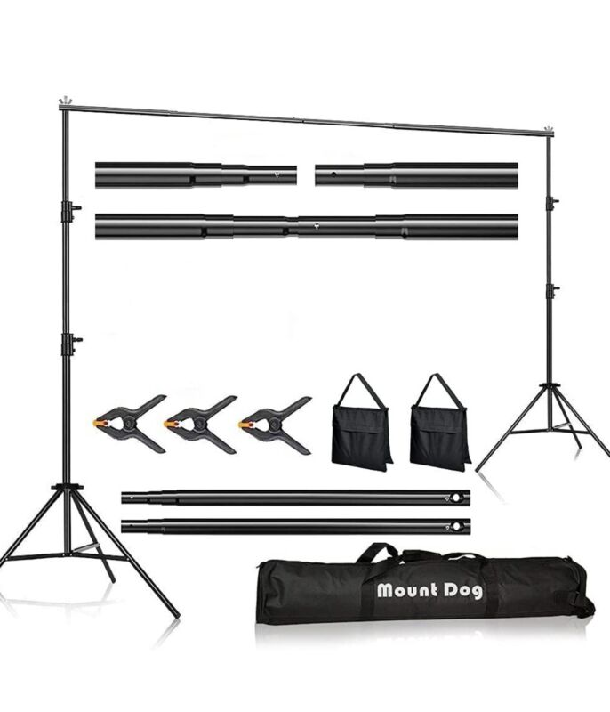 MOUNTDOG Photo Backdrop Stand Kit 10x6.5ft Background Stand Support System with