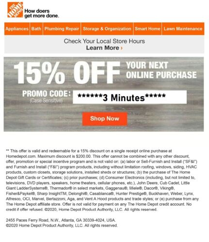 ONE~1X-Home Depot 15% OFF Online Coupon Save up to $200 FAST--SENT_-_-