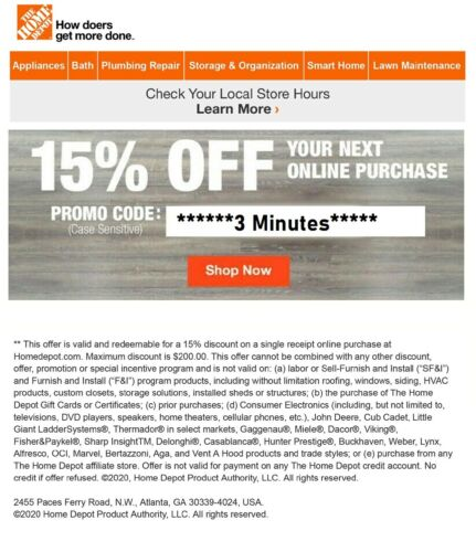 ONE~1X-Home Depot 15% OFF Online Coupon Save up to $200 FAST-SENT_-__-_-_