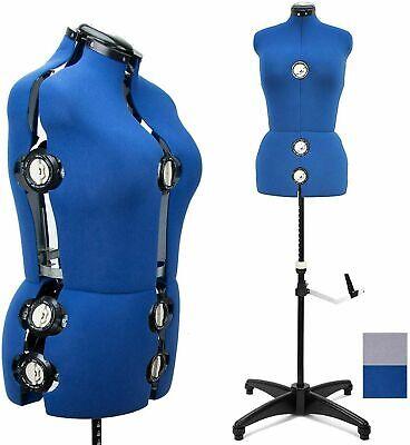 Adjustable Dress Form Large Sewing Female Mannequin Torso Blue Stand Form L