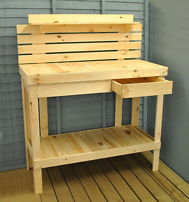 Wooden Potting Table and Garden Work Bench by Selections