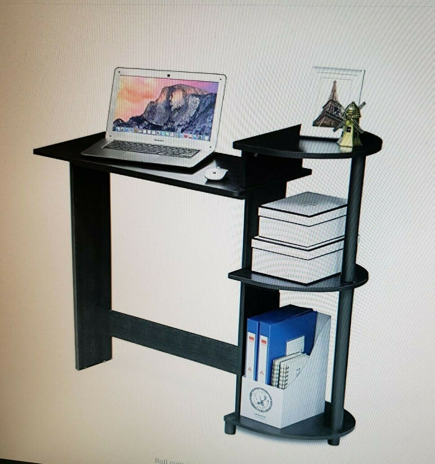 compact computer desk round side shelves black