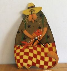 Animated Italian Fat Cat With Fish Wooden Wall Clock 11 Handpainted Signed NEW