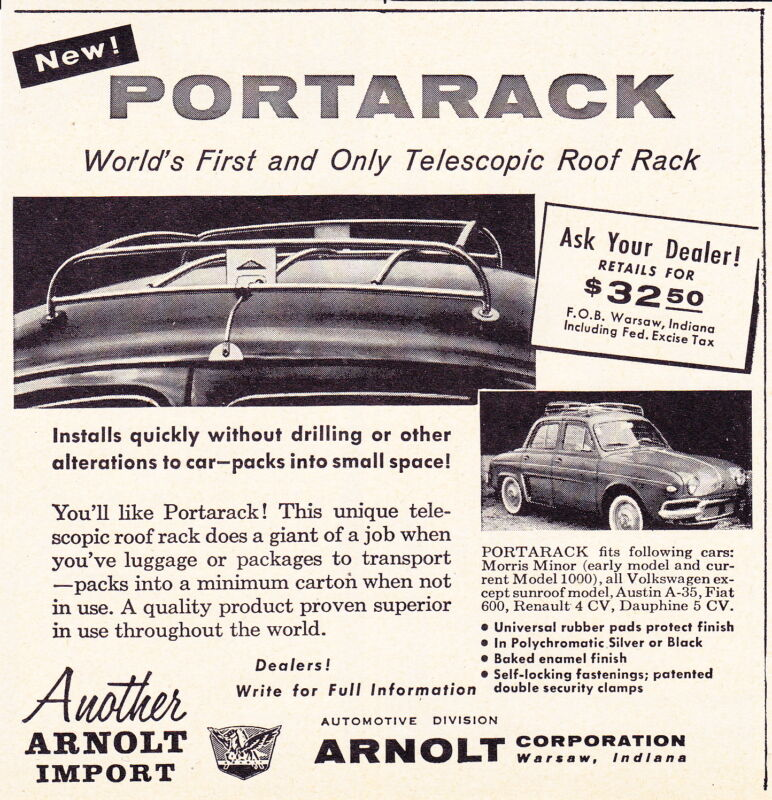 1958 RENAULT DAUPHINE - PORTARACK  ~  RARE SMALLER ARNOLT CORP AD