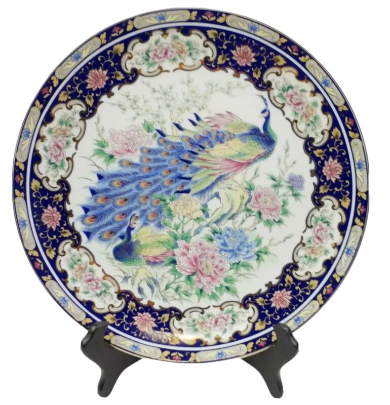 Toyo Hand Painted Japanese Decorative Peacock Porcelain Plate with Gilt