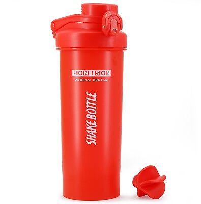 AUTO Anger Lid Shaker Bottle Blender for Protein Powder Smoothie Shaker-Full Red