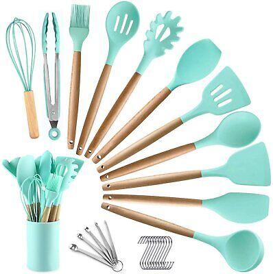 27 Kitchen Utensil Set - Silicone Cooking Utensils - Wooden Kitchen Utensils Set