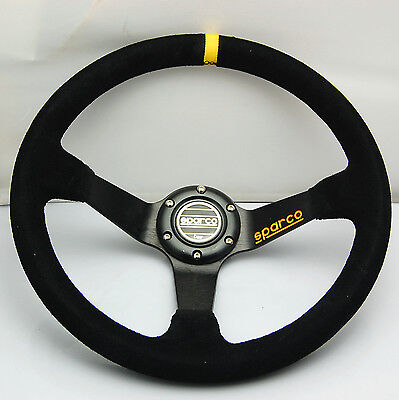 350mm Black Suede Leather Deep Dish Steering Wheel SPC Drifting OMP Race YL