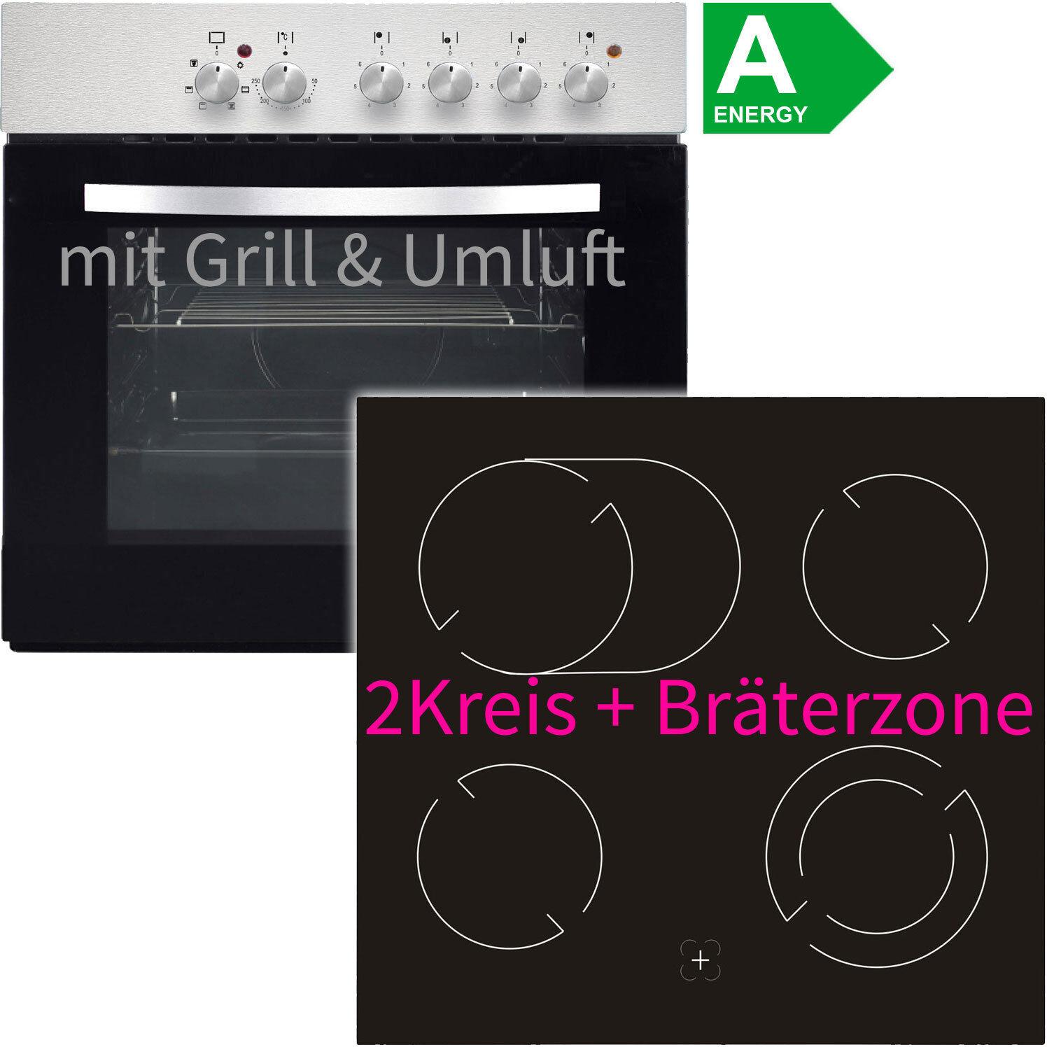 Hausmarke Edelstahl Umluft Einbauherd-Set Einbau Ceran Kochfeld Einbau Herdset !