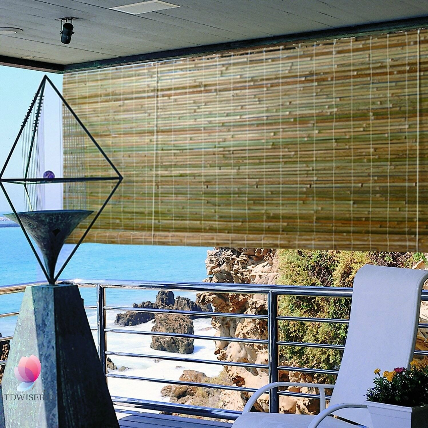 "Bamboo Shade 96 x 72"" Roll Up Laguna Window Natural Rustic Roman Outdoor Blind"