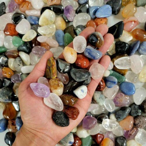 """Mixed Tumbled Stones - Pendant Size 1/2"""" to 1"""" - Assorted Tumbled Gemstones Bulk"""