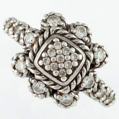 Judith Ripka Sterling Silver Iron Cross Diamonique Ring w/ Petal Accents Size 11