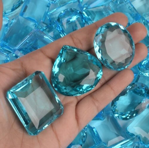 500 Ct Swiss Blue Topaz 6 Pcs Mix Cut Brazilian Loose Gemstone Lot