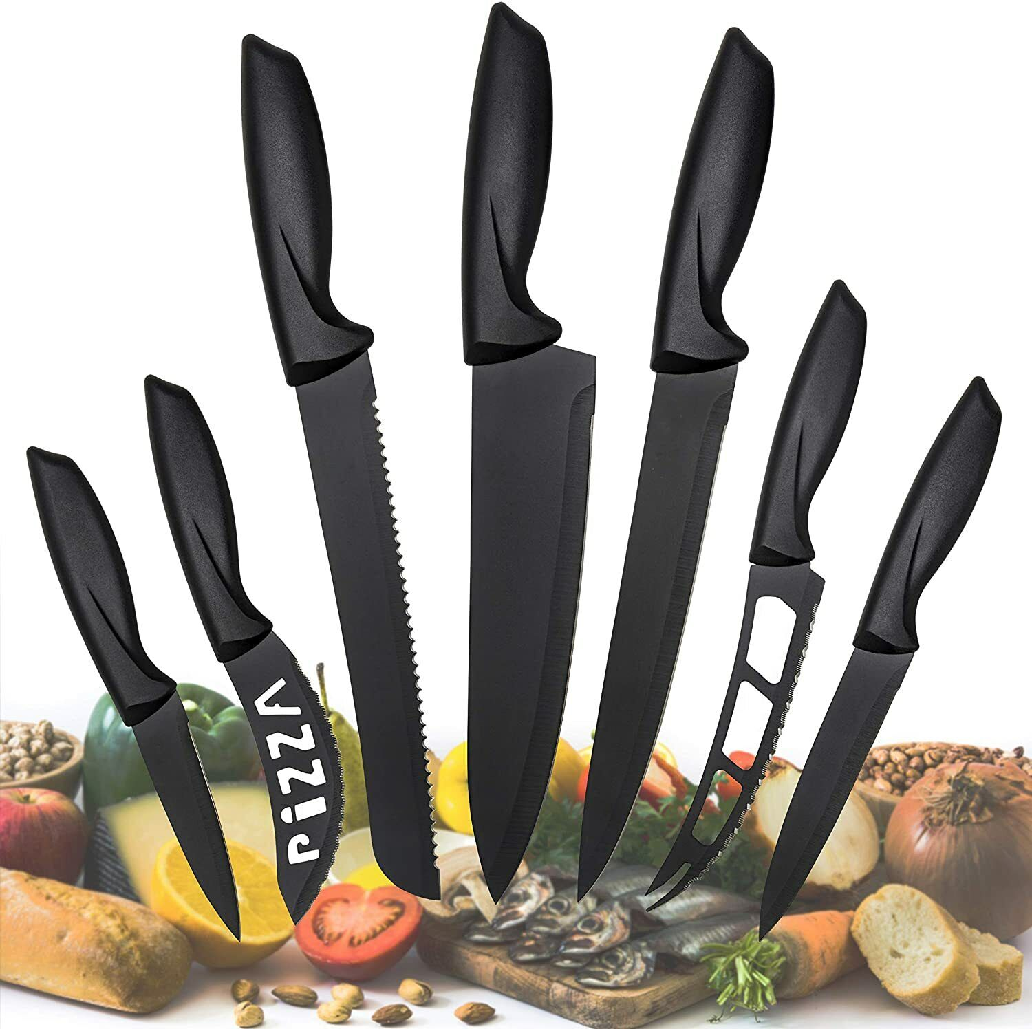 Professional Stainless Steel Kitchen Knife Set-7 Piece Cutlery Pizza knives Set
