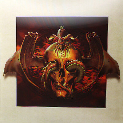 3D Lenticular Poster - Gothic Skull with Snakes, Wings -16x16 Print