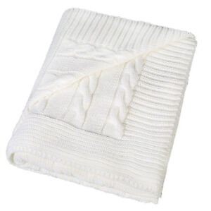 Supersoft-Turkish-Cable-Knit-Throw-Blanket-Pre-Washed-50-X-60-Cream-Baby