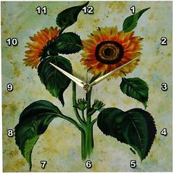 3dRose DPP_21429_2 Flower Sunflowers Wall Clock, 13 by 13