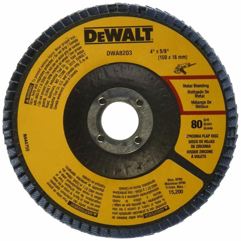 Dewalt DWA8203 80 Grit Zirconia Type 29 Flap Disc, 4-Inch X 5/8-Inch