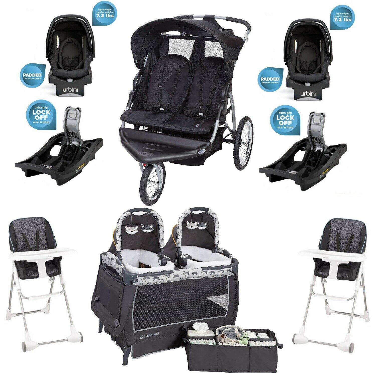 Baby Double Jogger Stroller Car Seats Bases Playard Chairs E