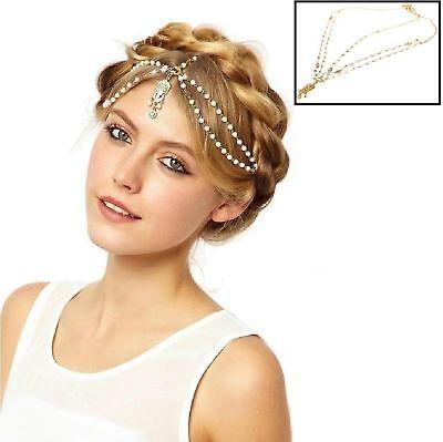 Gold Tone Indian Style Hair Pendant Circular Head Chain Headpiece.