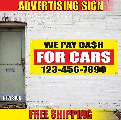 Cash For Cars Advertising Banner Vinyl Mesh Decal Sign We Pay Auto Pawn Shop Top