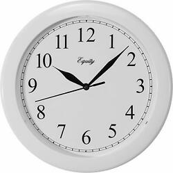 """Classic 10"""" Round Glossy White Large Numbers Indoor Wall Clock with Glass Lens"""