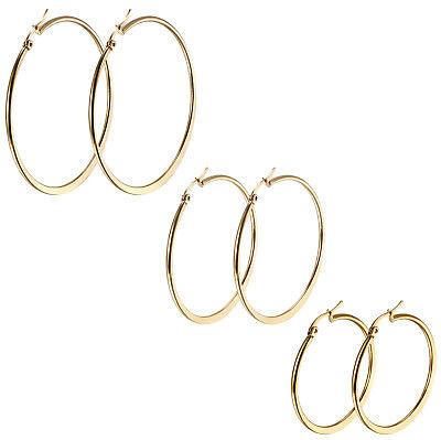 2X Women Silver/Gold Tone Stainless Steel Flat Round Big Ring Hook Hoop Earrings Hoop Round Ring