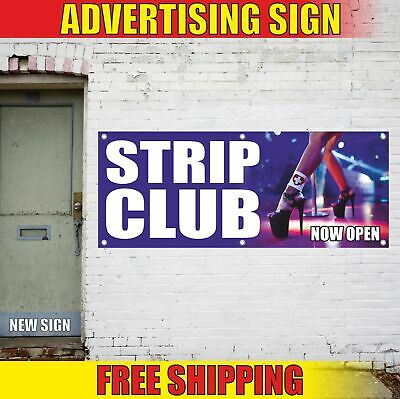 Strip Club Now Open Advertising Banner Vinyl Mesh Decal Sign Lap-dancing Pole