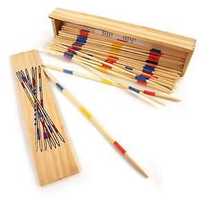 Traditional Wooden Retro Pick Up Sticks Game Set Wooden Box
