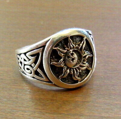 Handcrafted Solid 925 Sterling Silver Men's Sun, Moon, & Stars Celtic Knot Ring  Sterling Silver Mens Star