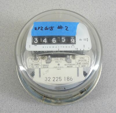 Westinghouse Electric Watthour Meter 2p2g18 240v Type Ds 4 Lug Glass Dome 2