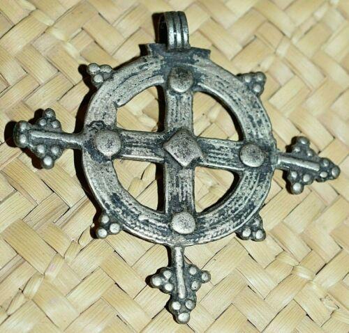 Antique Ethiopian Silver Coptic Christian Cross Pendant From Ethiopia, Africa