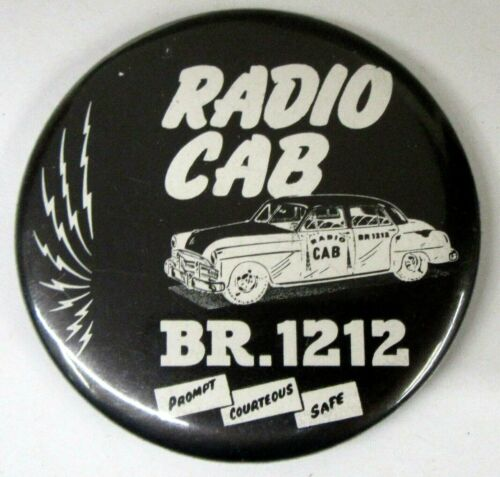 vintage RADIO CAB taxi advertising celluloid pocket mirror ^