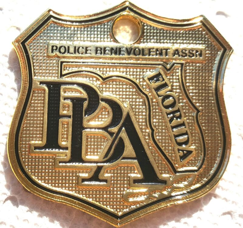PBA FLORIDA LAW ENFORCEMENT SUPPORTER CAR GOLD POLICE LICENSE TAG PLATE SHIELD ❤