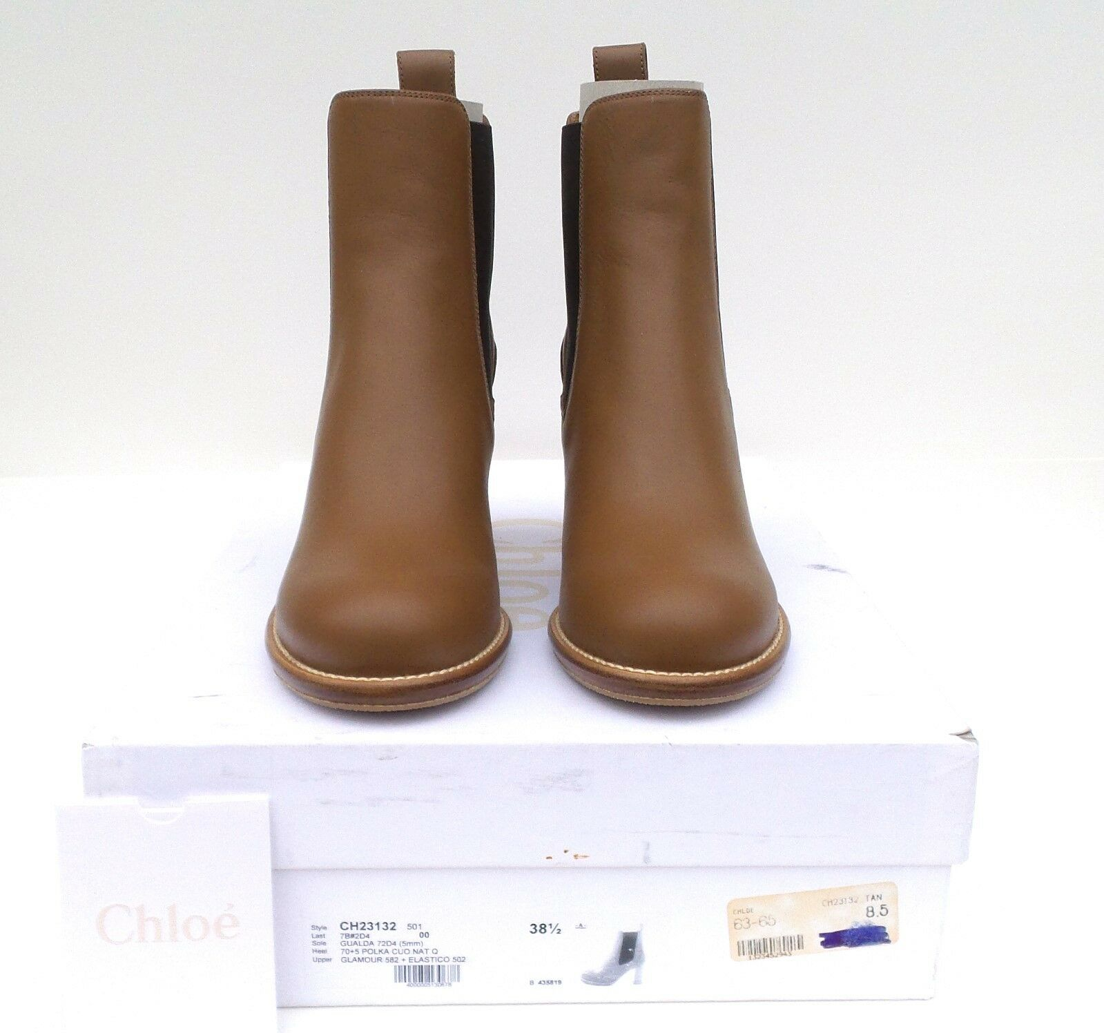 CHLOE Camel Tan Brown Leather Round Toe Stacked Block Heel Ankle Boots 385 NWB