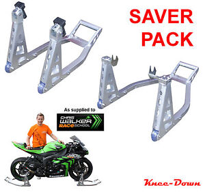KNEE-DOWN UNIVERSAL MOTORCYCLE ALUMINIUM ALLOY FRONT & REAR PADDOCK STANDS - NEW