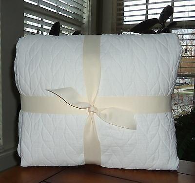 West Elm Organic Braided Matelasse Duvet Cover Set Stone White Full Queen New