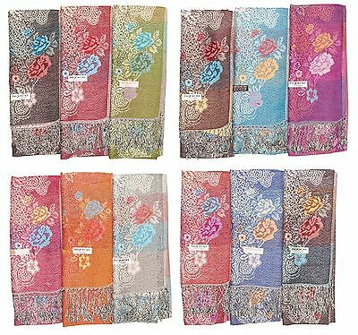 12 NEW Women Pashmina Shawl  Soft Silk Cashmere scarf Stole Wrap Wholesale LOT