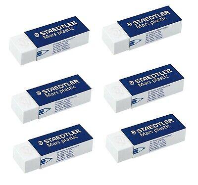 Staedtler Mars Premium Plastic Erasers  52650  6 Super Erasers New