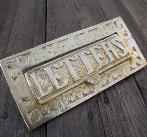 Vintage Heavy Solid Brass Letter Box Plate Door Mail slot / Mailbox