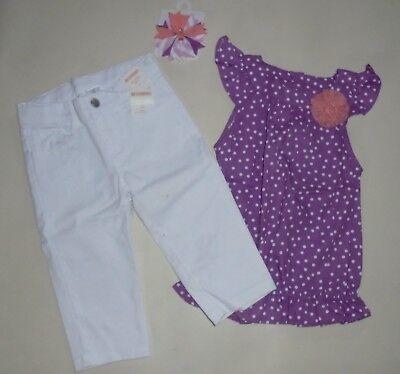 Gymboree Girls White Twill Capri Pinwheel Pastels Purple Dot Top  Bow  4  NWT