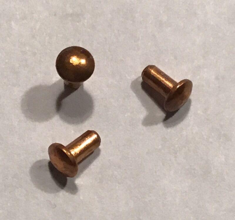 "Solid Copper Dome Head Rivets 3/32"" X 1/4"" - SteamPunk Art - Metal Craft -50 Pcs"