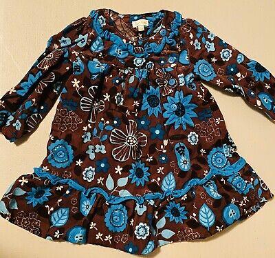 Le Top 12 Months Blue Brown Floral Corduroy Daisy Sunflower Fall Dress RARE! Le Top Daisy