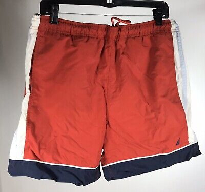 Nautica Swim Trunks Sz Med Red Lined EUC Nylon Shorts Swimsuit