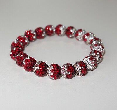 A504 - Shamballa Armband - NEU - Rot Weiß Strass Strassperlen Glitzer Mädchen