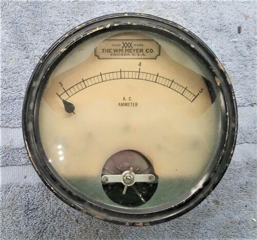 WM. MEYER  Ammeter Works! Antique Electrical Instrument Meter Vintage Steampunk