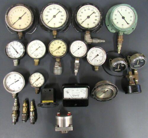 Lot of 17 Vintage Gauges - PSI Water Volts Amperes LB HG Vac Hours Ashcroft
