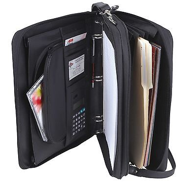 Leatherette 3-ring Binder Folder Portfolio Organizer Planner W Briefcase Handle